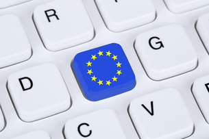 flag or flag of europe european union eu on internet computer keyboardの写真素材 [FYI00662076]