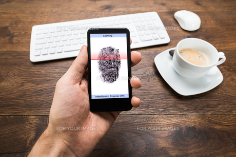 Person Hands Holding Mobile Phone With Fingerprint Applicationの写真素材 [FYI00662094]