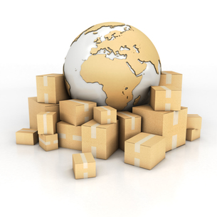 Earth and boxes in cardboard textureの写真素材 [FYI00662192]