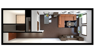 3D interior rendering of a small loft with texturesの素材 [FYI00662196]