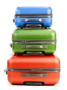 Luggage consisting of three suitcases isolated on whiteの写真素材 [FYI00662266]