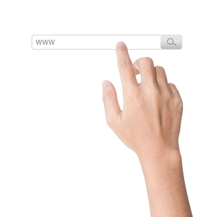 finger click on search www toolbar browser isolated white backgroundの写真素材 [FYI00662373]