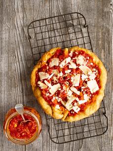 rustic italian deep fried pizza frittaの写真素材 [FYI00662401]