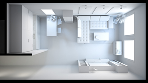 3D interior rendering of a small loft without texturesの素材 [FYI00662627]
