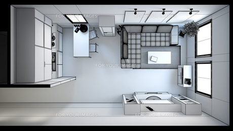 3D interior rendering of a small loft without texturesの素材 [FYI00662630]