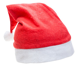 typical red santa claus hat isolated on whiteの写真素材 [FYI00662699]