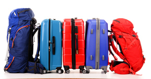 Suitcases and rucksacks isolated on whiteの写真素材 [FYI00662928]