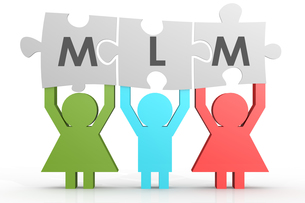 MLM - Multi Level Marketing puzzle in a lineの写真素材 [FYI00663091]