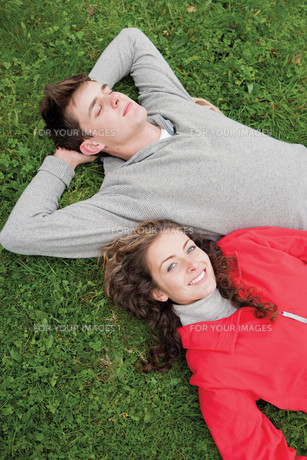 Lying together in the grassの写真素材 [FYI00663134]
