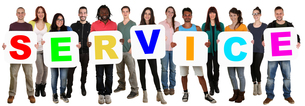 group of young people keep multicultural people word serviceの写真素材 [FYI00663503]
