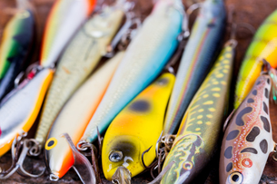 selective focus closeup fishing bait wobblerの写真素材 [FYI00663567]