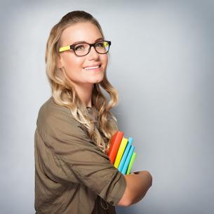 Cute student girl portraitの写真素材 [FYI00663574]