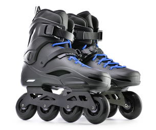 Pair of inline skates isolated on white backgroundの写真素材 [FYI00663652]