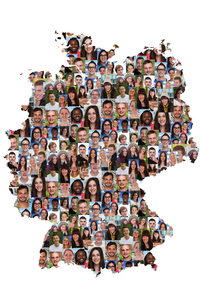 germany map people young people group integrating multicultural diversityの写真素材 [FYI00663665]