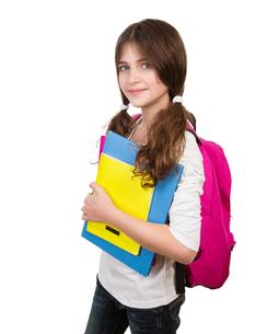 Cute schoolgirl portraitの写真素材 [FYI00663672]