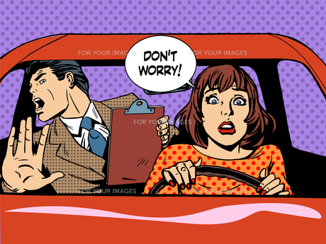 woman driver driving school panic calmの写真素材 [FYI00663913]