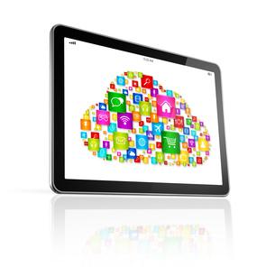 Cloud computing symbol on Digital Tablet pcの素材 [FYI00663938]
