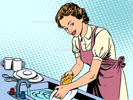 Woman washing dishes housewife housework comfortの写真素材 [FYI00663948]