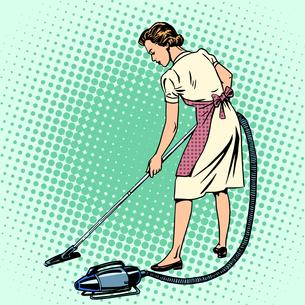 Woman vacuuming the room housewife housework comfortの写真素材 [FYI00663950]