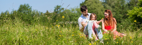 family sitting on lawn and gives children securityの写真素材 [FYI00663998]