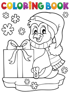 Coloring book penguin with giftの素材 [FYI00664120]