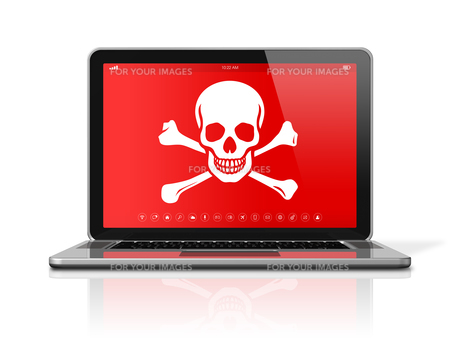Laptop with a pirate symbol on screen. Hacking conceptの写真素材 [FYI00664301]