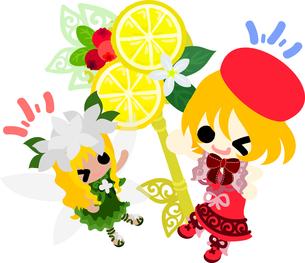 女の子と妖精のイラストのイラスト素材 [FYI00664656]