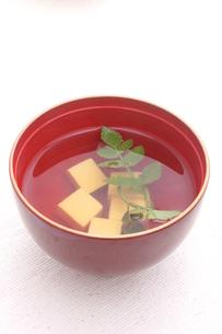 芹とお豆腐のお吸い物の写真素材 [FYI00665105]