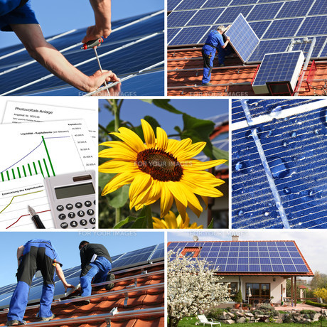 collage,solar and offer installationの写真素材 [FYI00666888]