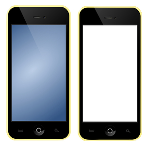 mobile phone with yellow boxの写真素材 [FYI00668316]