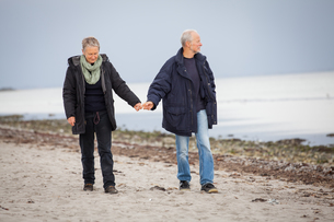 senior happy couple making a beach walkの写真素材 [FYI00668492]