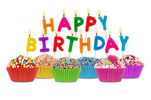 happy birthday cupcakesの写真素材 [FYI00668734]