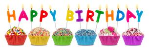 happy birthday cupcakesの写真素材 [FYI00668735]