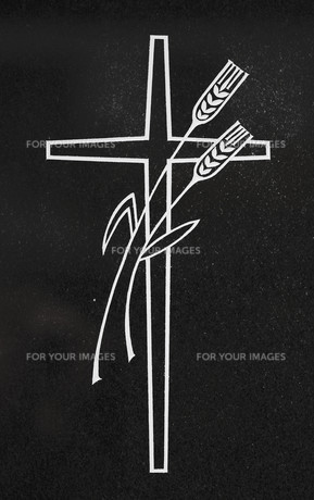cross with ears of corn against black backgroundの写真素材 [FYI00669057]