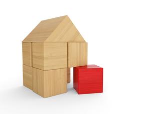 wooden house block concept - red 3の写真素材 [FYI00670663]