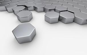 silver hexagon block concept 4の写真素材 [FYI00670681]