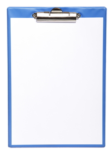 blue clipboard with blank paper isolated on whiteの写真素材 [FYI00670715]
