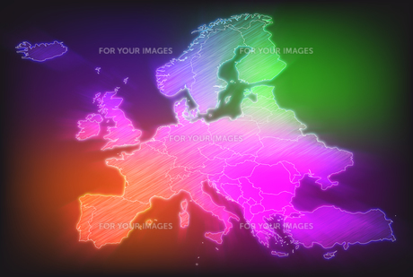 map of europe with borders in vivid bright colorsの写真素材 [FYI00671862]