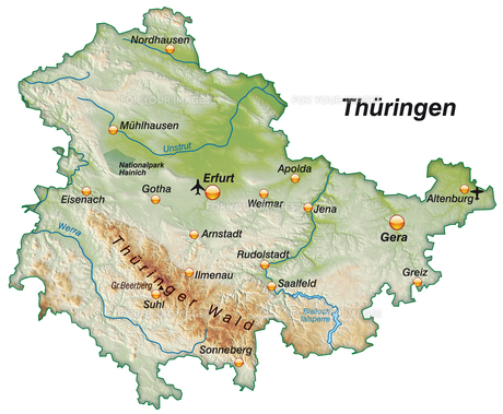 map of thueringen as an overview map as shadingの写真素材 [FYI00671885]