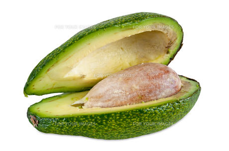 fresh avocado on white backgroundの素材 [FYI00672191]