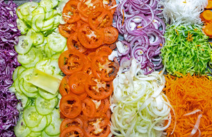 colourful salad buffet in a restaurantの写真素材 [FYI00672890]