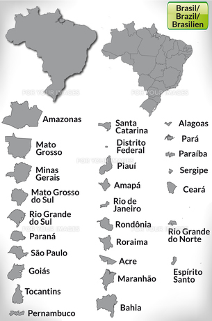 map of brazil with borders in grayの写真素材 [FYI00673186]
