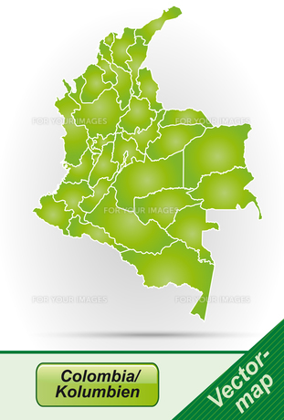 map of colombia with borders in greenの写真素材 [FYI00673191]