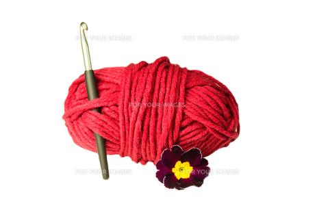 ball of wool,crochet hook,flowerの素材 [FYI00673477]