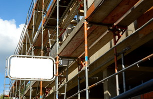 scaffold with plate and free textの写真素材 [FYI00673805]