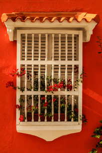 spanish colonial house. cartagena de indias,colombia's caribbean zoneの写真素材 [FYI00675043]