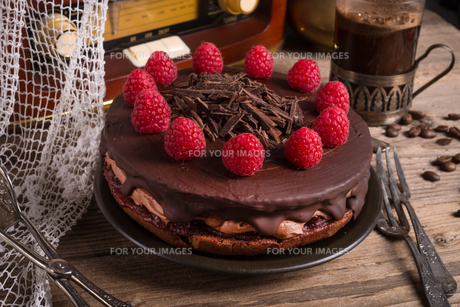 chocolate cake and turkish coffee - vintage styleの写真素材 [FYI00676180]