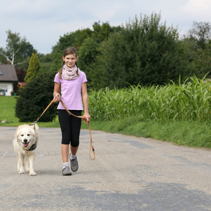 girl goes with golden retriever dog for a walkの写真素材 [FYI00677326]