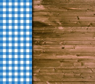 wood background and tablecloth in blue and whiteの写真素材 [FYI00677331]
