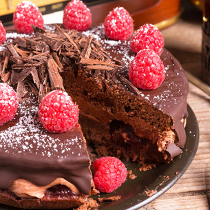 chocolate cake and turkish coffee - vintage styleの写真素材 [FYI00677374]